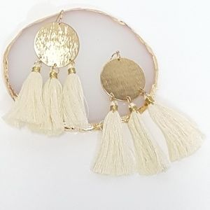 Fringed Tassel Drop Earrings Statement White/ Gold